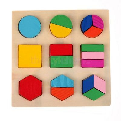 Kids Montessori Educational Wooden Learning Toy Geometry Block Puzzle #C