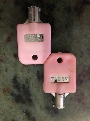 2 T-007 (Pink) Key For 1-800 Vend V-Line Pro-Line LYPC Machine NEW!