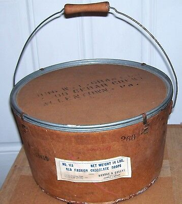 Vintage Bradas & Gheens 1930's Fiber And Metal Candy Pail With Bail Handle