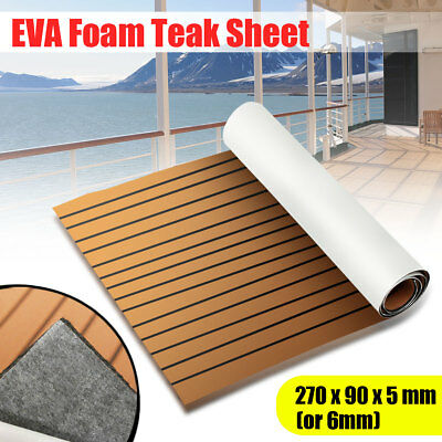 90X 270cm EVA Foam Teak Sheet Boat Decking Yacht Floor Carpet 6mm Self-Adhesive