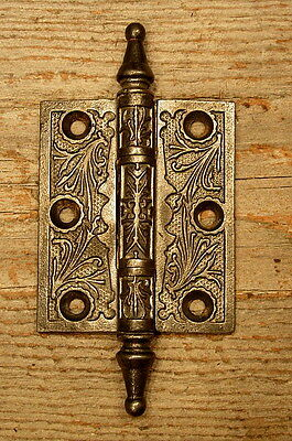 "Ornate Victorian Cast Iron 3 1/2"" X 2 1/2"" Door Hinge Vintage Antique"