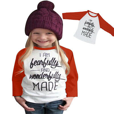 Sweet Girls Clothes Letter Print Long Sleeve T-shirt Blouse Tops Outdoor Party