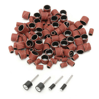 "100Pcs 1/2"" 1/4"" Drum Sanding Bands Sleeves & 4 Drum Mandrel for Rotary Tool Kit"