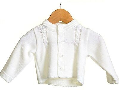 Baby Unisex Winter White Romany Spanish Style Knitted Short Cardigan by Zip Zap