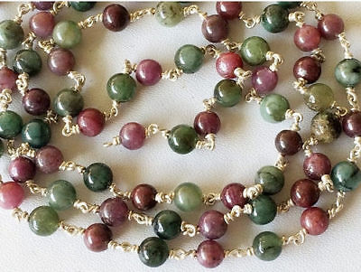 1 Foot Ruby Emerald Plain Round Balls Beads 925 Silver Emerald Ruby Beaded Chain