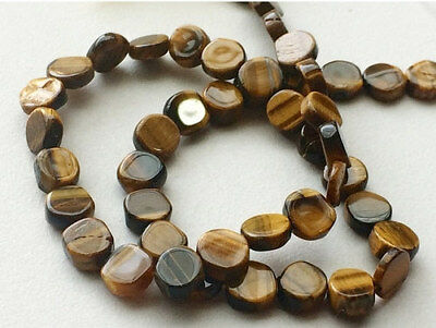"""14"""" Strand Tigers Eye Beads, Tigers Eye Plain Smooth Coins, Tigers Eye Necklace"""