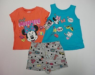 3 Pieces Disney Minnie Mouse Girls T-Shirt Shorts Toddler Set Kit Hey Pack NWT