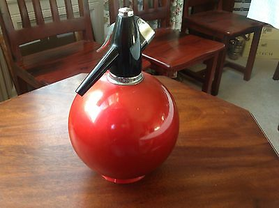 VINTAGE 1960s/1970s BALL TYPE SPARKLETS SODA SYPHON IN METALLIC RED    (245)