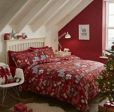Catherine Lansfield 100% Brushed Cotton Happy Christmas Red Bedding Duvet Cover