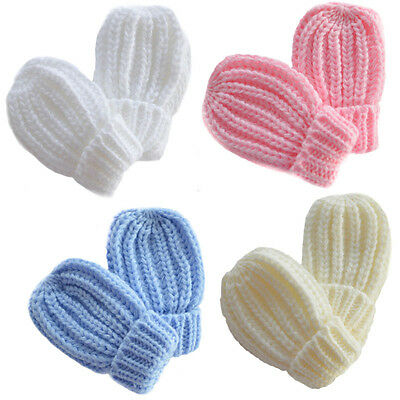 Baby Knitted Ribbed Mittens Sky Blue Pink Cream or White newborn - 12 months