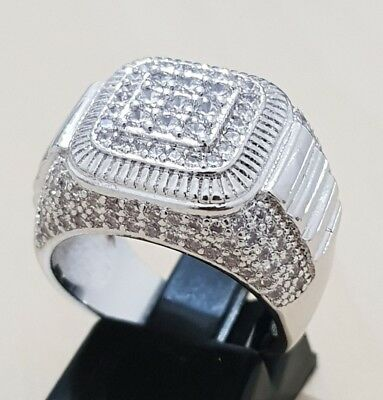 Fashion 18K white Gold Plated CZ Micro Pave simulated Diamont Mens Ring pinky ba