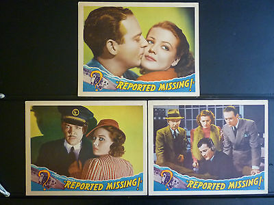 1937 Reported Missing -7 Lobby Cards - Aviation - Crime - Thriller - Jean Rogers