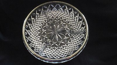 Anchor Hocking Wexford Glass 3 part Relish Tray Silver Edge party wedding
