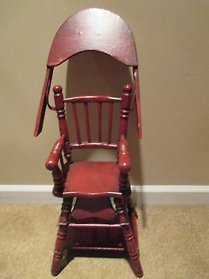 Vintage Wooden Doll High Chair Folds Down To Booster Bead Chair