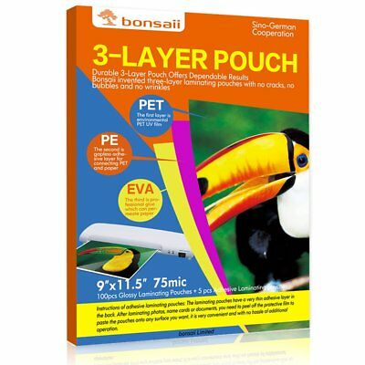 "Apache Thermal Pouches Laminating 100 Count Paper Letter Sheet 3 Mil 9"" x 11.5"