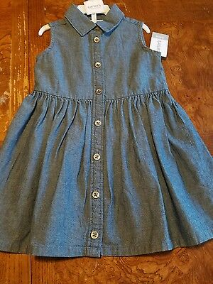 Carter's Baby Girl Chambray Sleeveless Dress with Diaper Cover NWT 18 Months ♡♡♡