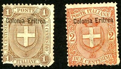 1899 Eritrea Stamps Sct #12 and #13 Both Unused, HR
