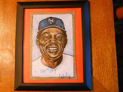 Willie Mays-1/1 Original Autographed Artwork Psa/dna Authenticated