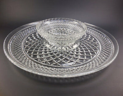 Anchor Hocking WEXFORD Glass Chip and Dip Platter with Bowl diamond centerpiece