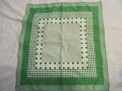 """Vintage Scarf - Green and white  .  19"""" X 21""""  ."""