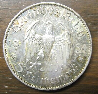 German Five Reichmarks Silver Coin, 1934