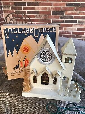 IOB Vintage Illuminated Mica Cardboard Village Church,Bell Tower,Original Cord