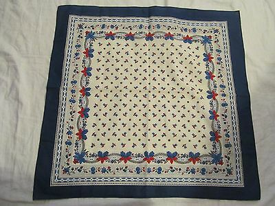 """Vintage Scarf / Kerchief  - Cotton, Blue with white  24"""" Square"""