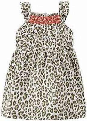 NWT Carter's baby girl dress leopard print 3 months brown with coral