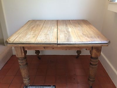 Antique Victorian Solid Rustic Oak Dining Table