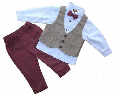 Baby Romany 4 piece Outfit Trousers Waistcoat Bow Tie & Shirt Set by Little Gent