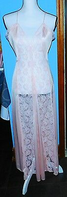 Vintage Val Mode Long Lace Sexy Nightgown Pink Size Medium Floral See Thru Front