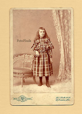 Old Vintage Photo 1890's YOUNG GIRL Wavy Hair Plaid Dress Antique Fashion