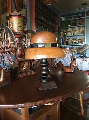 Antique Wooden Hat Block Mold Millinery Heavy Form With Stand