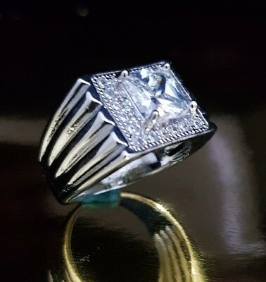 Mens Square Micro Pave Simulated Diamond Hip Hop Bling Ring Silver Plated