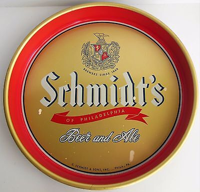 "Vintage Schmidts Beer Metal 13"" Tray Red Gold Navy Philadelphia Ale Bar Server B"