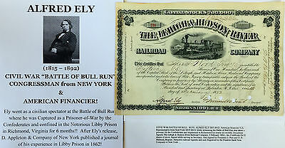 CIVIL WAR BULL RUN Libby Prison POW CONGRESSMAN HUDSON RR STOCK DOCUMENT SIGNED!