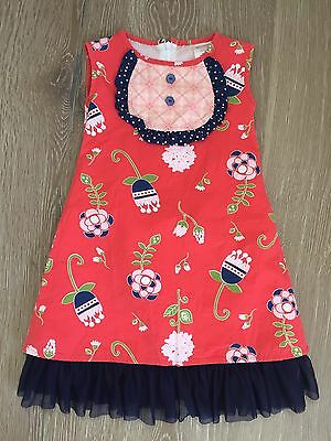 Persnickety Girls Size 3 Flower Dress Blue Pink Red