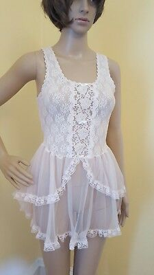 Vintage Jaclyn Smith Small Pink Lace Lingerie Tutu Layered Nylon Baby Doll Teddy