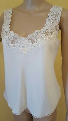 Vintage Christian Dior White Lace Cami Tank Top Undershirt Small Designer 1980's
