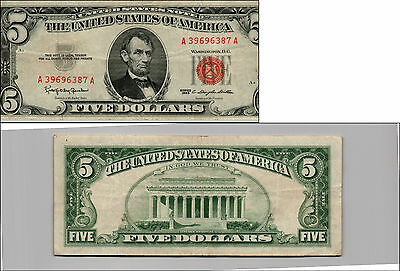 Old Vintage 1963 Series $5 Dollar Bill Red Seal United States Currency LOT Y555