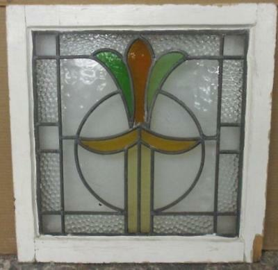 """OLD ENGLISH LEADED STAINED GLASS WINDOW Pretty Abstract Floral 20"""" x 20.5"""""""