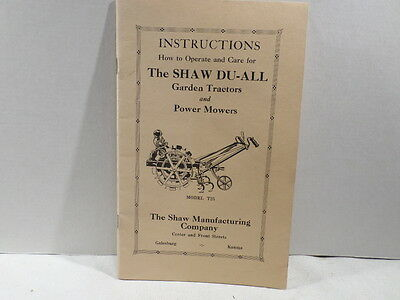 Shaw DU All Garden Tractors and Power Mowers Instruction Manual REPRO Model t25