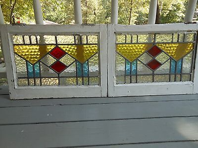 V-211 RED Double Diamond Transom Style Leaded Stained Glass Window F/England