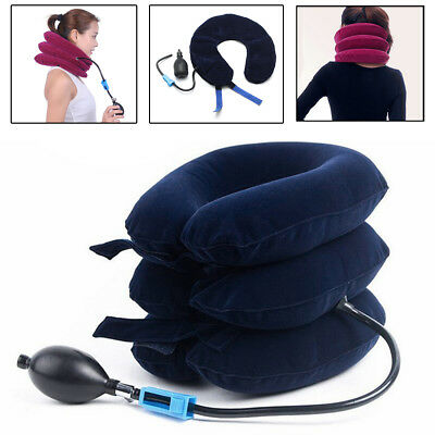 Air Inflatable Pillow Cervical Neck Head Pain Traction Support Brace Device Blue