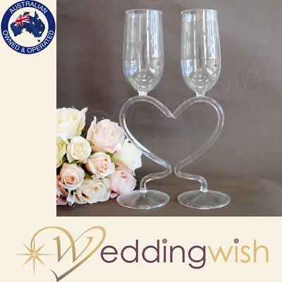 Wedding Toasting Glasses with Heart Stem