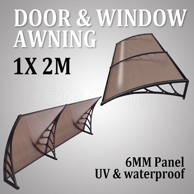 1x 2m Outdoor Window Door Awning Canopy Patio Sun Shield Polycarbonate Cover