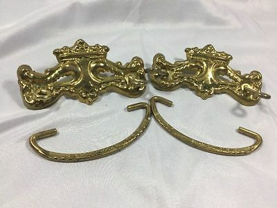 2 Vintage Brass Drawer Pull Handles Matched Pair Ornate Square Nuts
