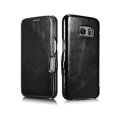 For Samsung Galaxy Note 4 Luxury iCarer Genuine Real Black Leather Wallet Case