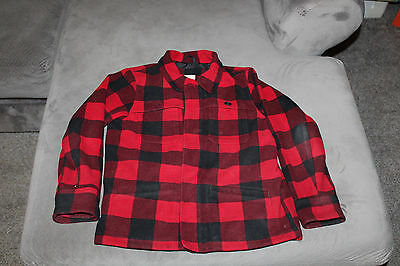Land's End Kids brand Size 7 black and red plaid lined fleece jacket
