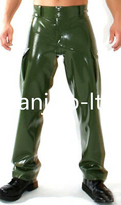Latex Rubber Gummi Handsome Cool Metal green Handsome Fashion Pants Size XS-XXL